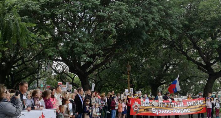 Marcha del Regimiento Inmortal en Argentina por el 74 aniversario de la derrota del nazismo