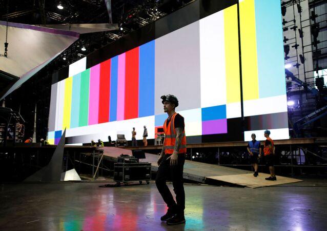 Preparativos del Festival de la Canción Eurovisión en Tel Aviv