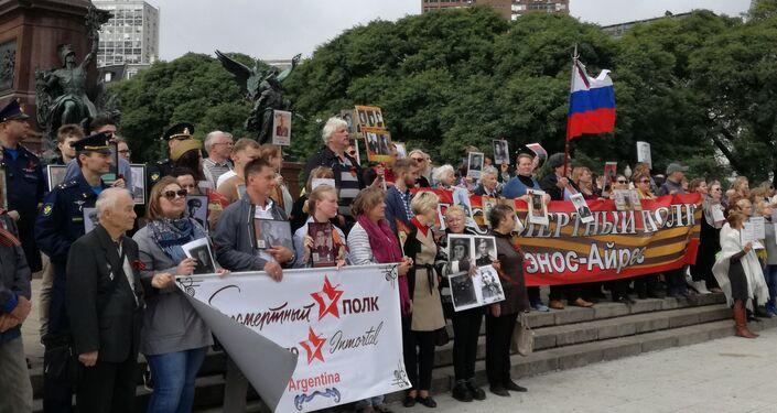 Los participantes de la Marcha del Regimiento Inmortal en Argentina