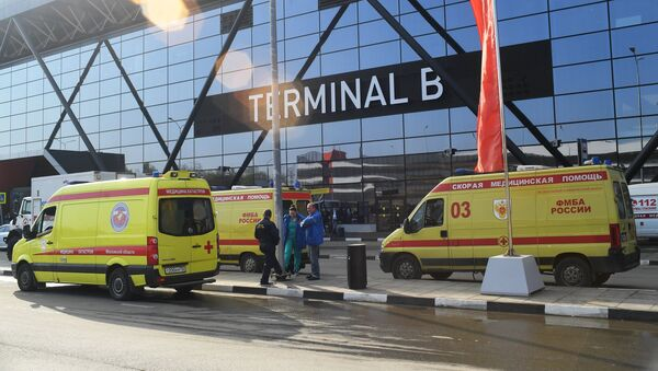 Las ambulancias en el aeropuerto Sheremétievo de Moscú, Rusia - Sputnik Mundo