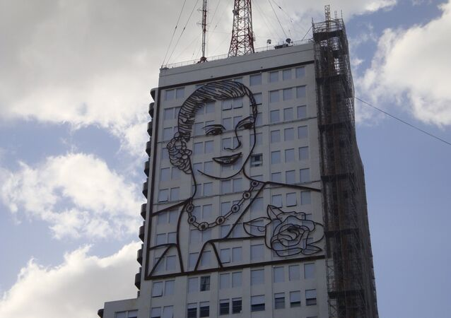 Mural de Eva Perón en la sede del Ministerio de Salud de Argentina