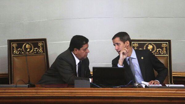 Edgar Zambrano, vicepresidente de la Asamblea Nacional de Venezuela, y Juan Guaidó, líder opositor venezolano - Sputnik Mundo