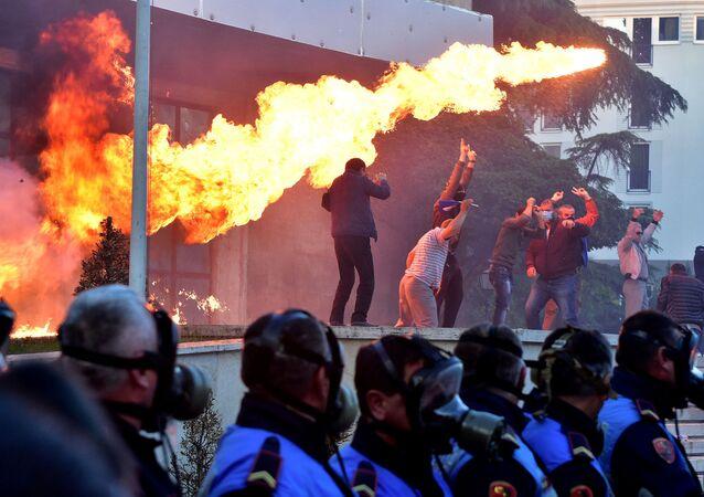 Protestas antigubernamentales en Tirana, Albania