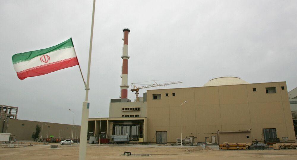 La bandera de Irán junto a la planta nuclear de Bushehr
