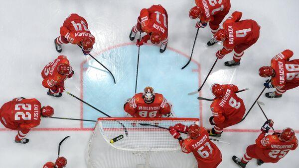 La selección nacional rusa de hockey en el partido entre Rusia e Italia - Sputnik Mundo