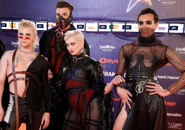 El grupo Hatari, en la alfombra roja de Eurovisión