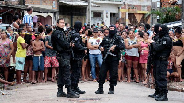 Policías en el lugar de la matanza en Belém do Pará, Brasil - Sputnik Mundo