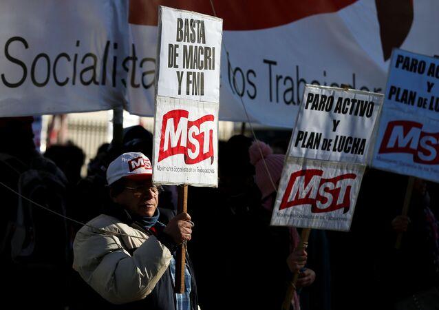 Protestas durante la huelga en Argentina