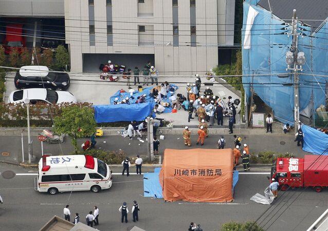 Policías en el lugar del asesinato en Kawasaki