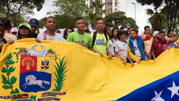 Protesta contra las amenazas de EEUU en Venezuela - Sputnik Mundo
