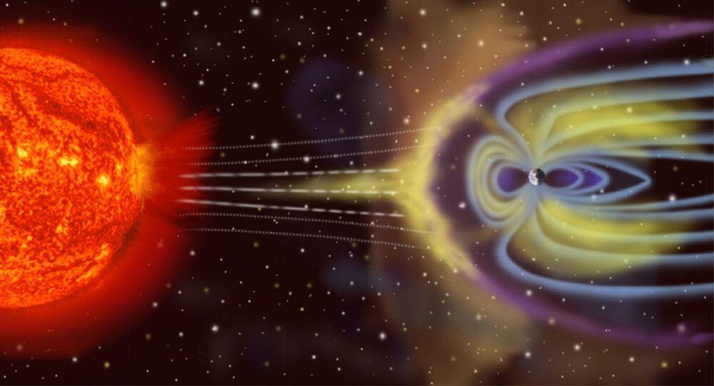El campo magnético de la Tierra, ilustración