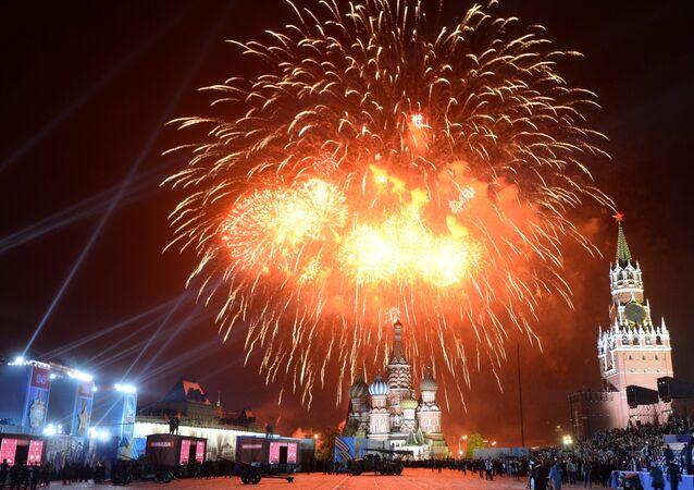 Fuegos artificiales en Moscú (archivo)