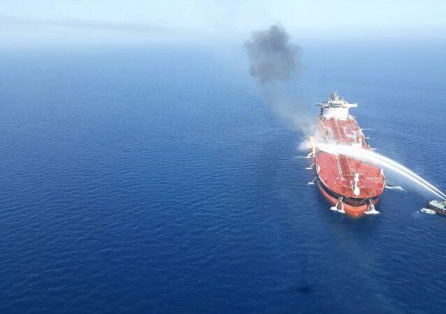 El barco petrolero atacado en el golfo de Omán
