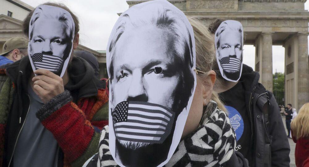 Protesta contra la posible extradición de Julian Assange a EEUU (archivo)