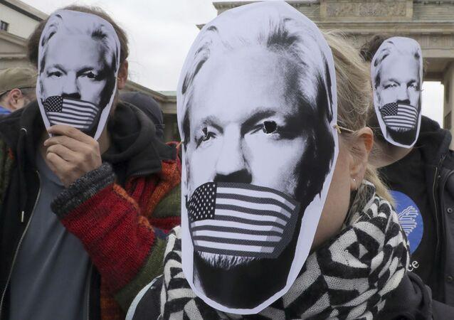 Protesta contra la posible extradición de Julian Assange a EEUU en Berlín (archivo)