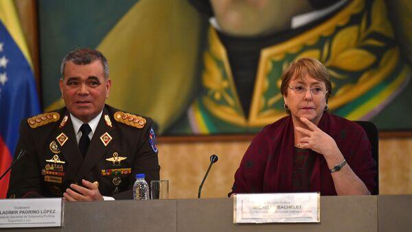 El ministro de Defensa venezolano, Vladimir Padrino López junto a la alta comisionada de las Naciones Unidas para los Derechos Humanos, Michelle Bachelet - Sputnik Mundo