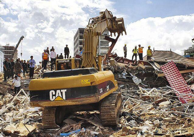 Derrumbe de un edificio en construcción en Camboya