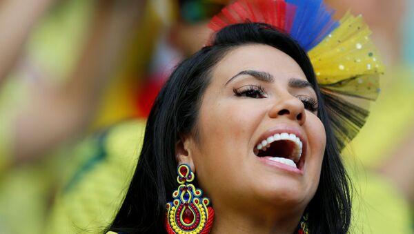 Hincha de la selección de Colombia en el partido contra Paraguay en la Copa América - Sputnik Mundo