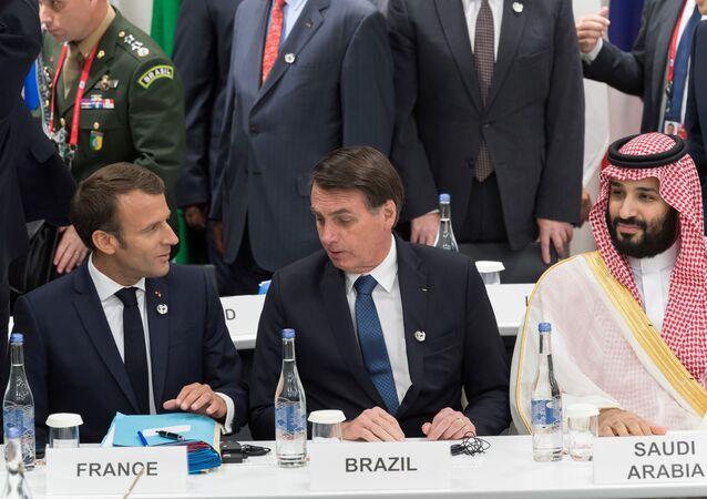 El presidente francés, Emmanuel Macron, y el presidente de Brasil, Jair Bolsonaro