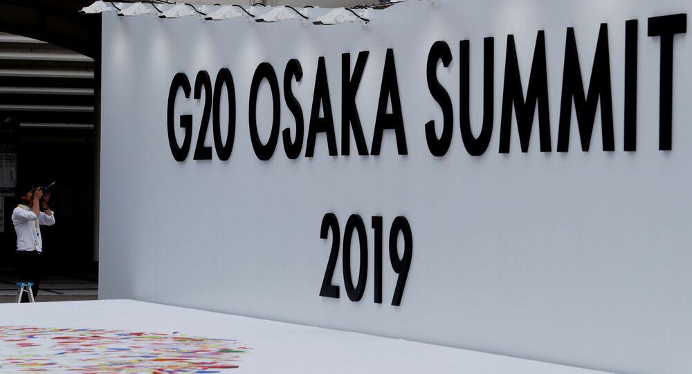 El logo del G20 2019 en Osaka, Japón