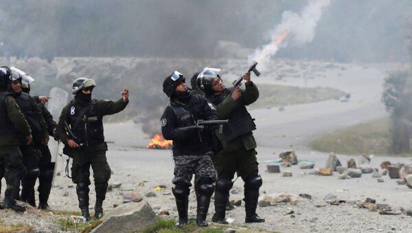 La policía boliviana durante las protestas de cocaleros - Sputnik Mundo
