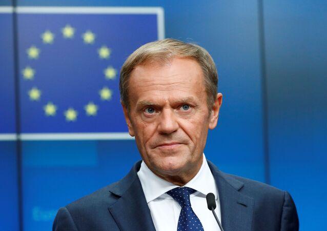 El presidente saliente del Consejo Europeo, Donald Tusk