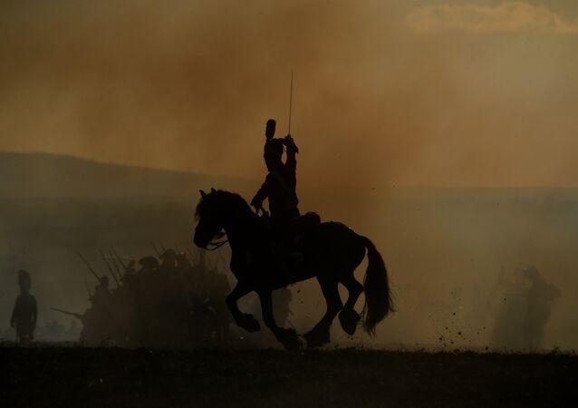 Representación de una batalla en la que participó Napoleón