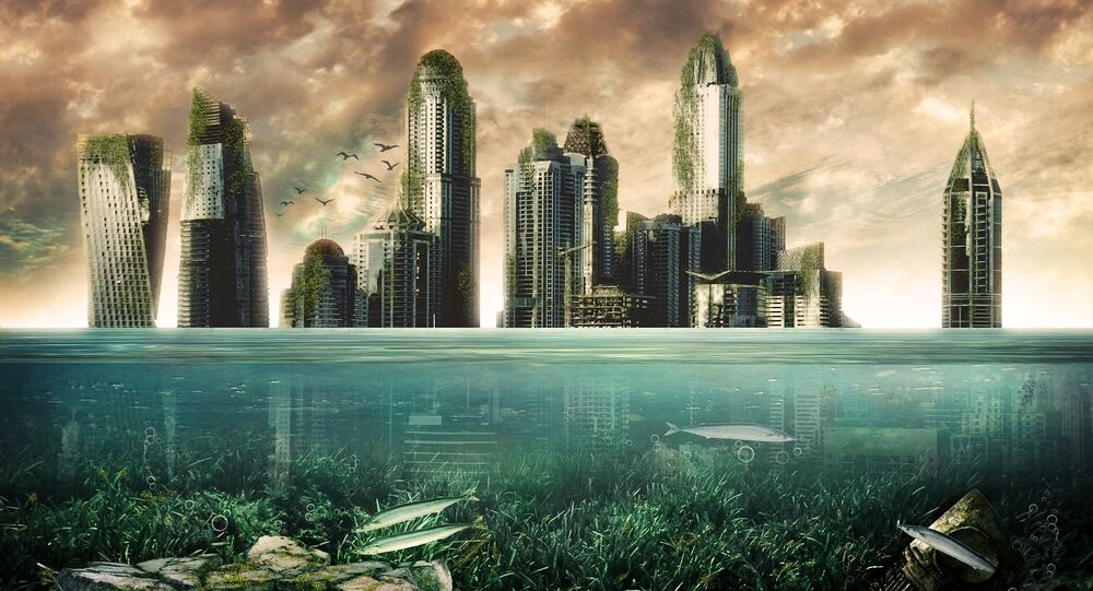 Rascacielos bajo el agua