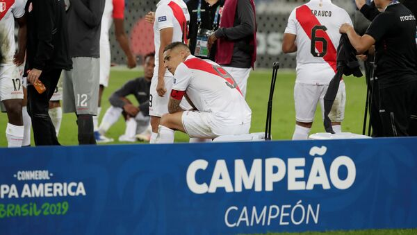 Paolo Guerrero y otros futbolistas peruanos luego de obtener el segundo puesto en la Copa América - Sputnik Mundo