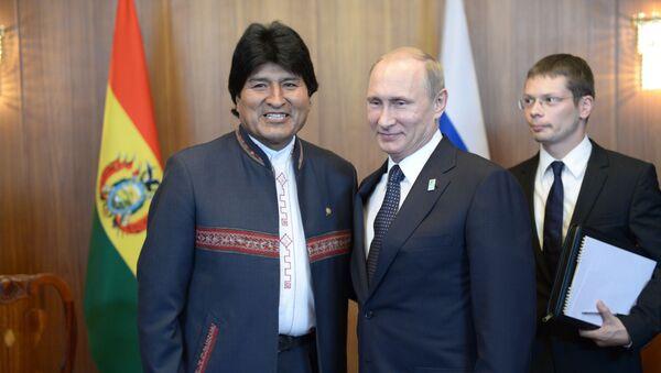 El presidente boliviano, Evo Morales y el presidente ruso, Vladímir Putin (archivo) - Sputnik Mundo