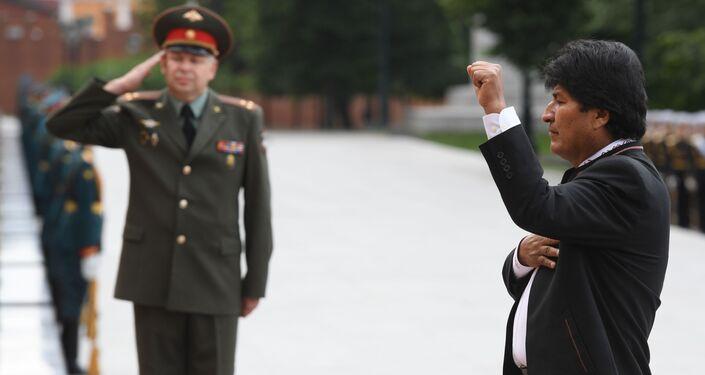 Evo Morales participa en una ceremonia oficial para conmemorar a los héroes caídos durante la Segunda Guerra Mundial en Moscú