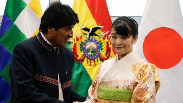 La princesa japonesa, Mako, junto al presidente de Bolivia, Evo Morales - Sputnik Mundo