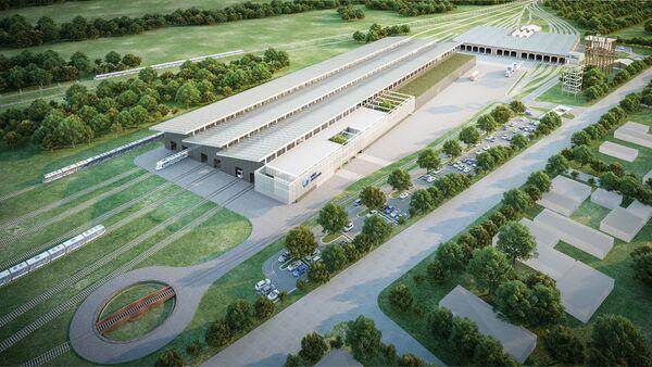 Render de la futura planta ferroviaria de Transmashholding en Argentina - Sputnik Mundo
