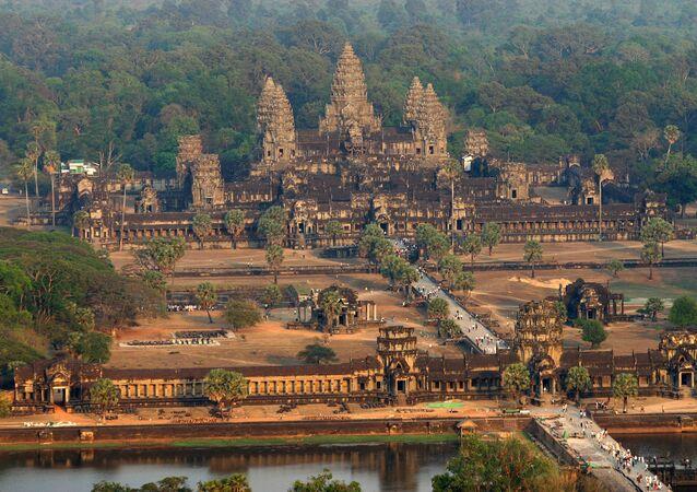Una vista aérea del templo de Angkor Wat, en Camboya