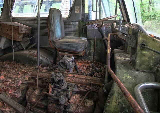 Un autobús abandonado, imagen referencial