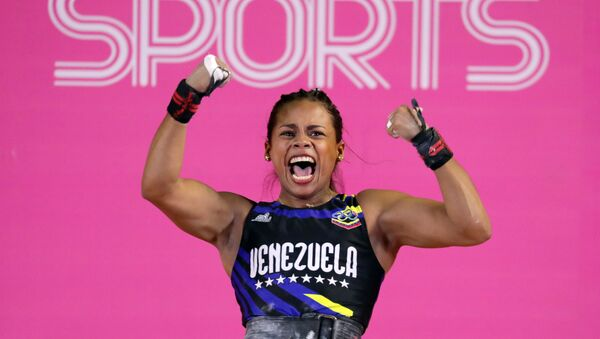 Génesis Rodríguez, deportista venezolana, tras vencer en halterofilia en Juegos Panamericanos Lima 2019, el 28 de julio de 2019 - Sputnik Mundo