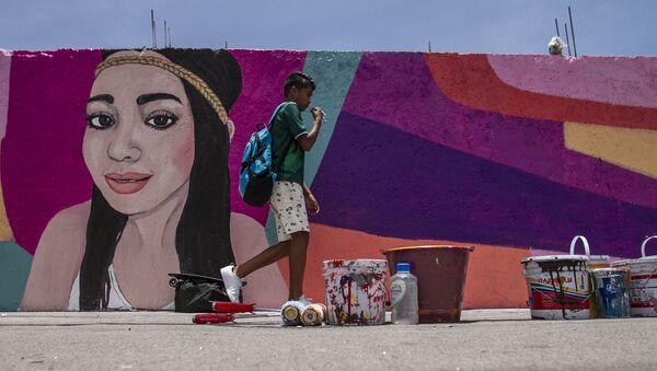 Mural dedicado a Pamela Gallardo Volante, desaparecida en la ciudad de México el 4 de noviembre de 2017 - Sputnik Mundo