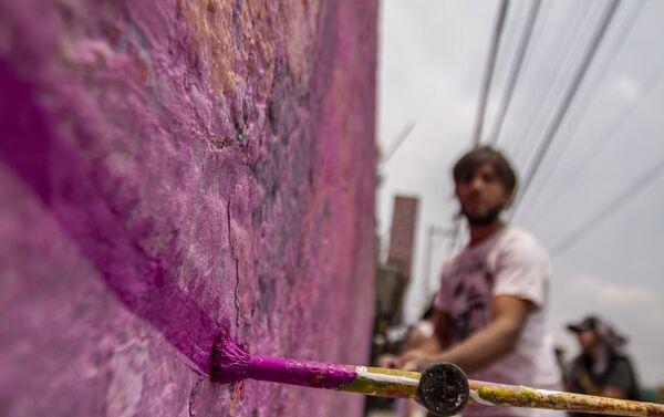Artista que participó de la confección del mural dedicado a Pamela Gallardo Volante, desaparecida en la ciudad de México - Sputnik Mundo