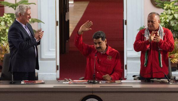 Miguel Díaz-Canel, presidente de Cuba, Nicolás Maduro, presidente de Venezuela, y Diosdado Cabello, presidente de la ANC de Venezuela - Sputnik Mundo