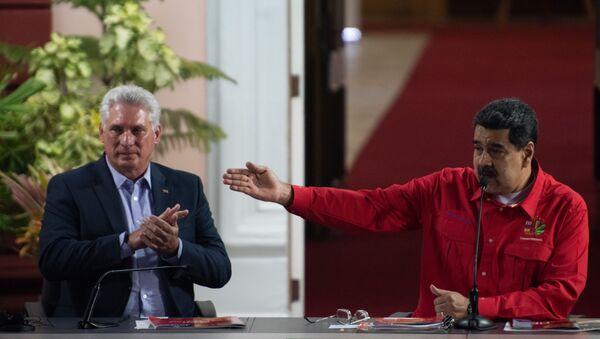 Miguel Díaz-Canel, presidente de Cuba, y Nicolás Maduro, presidente de Venezuela - Sputnik Mundo
