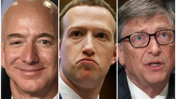 Jeff Bezos, Mark Zuckerberg y Bill Gates - Sputnik Mundo