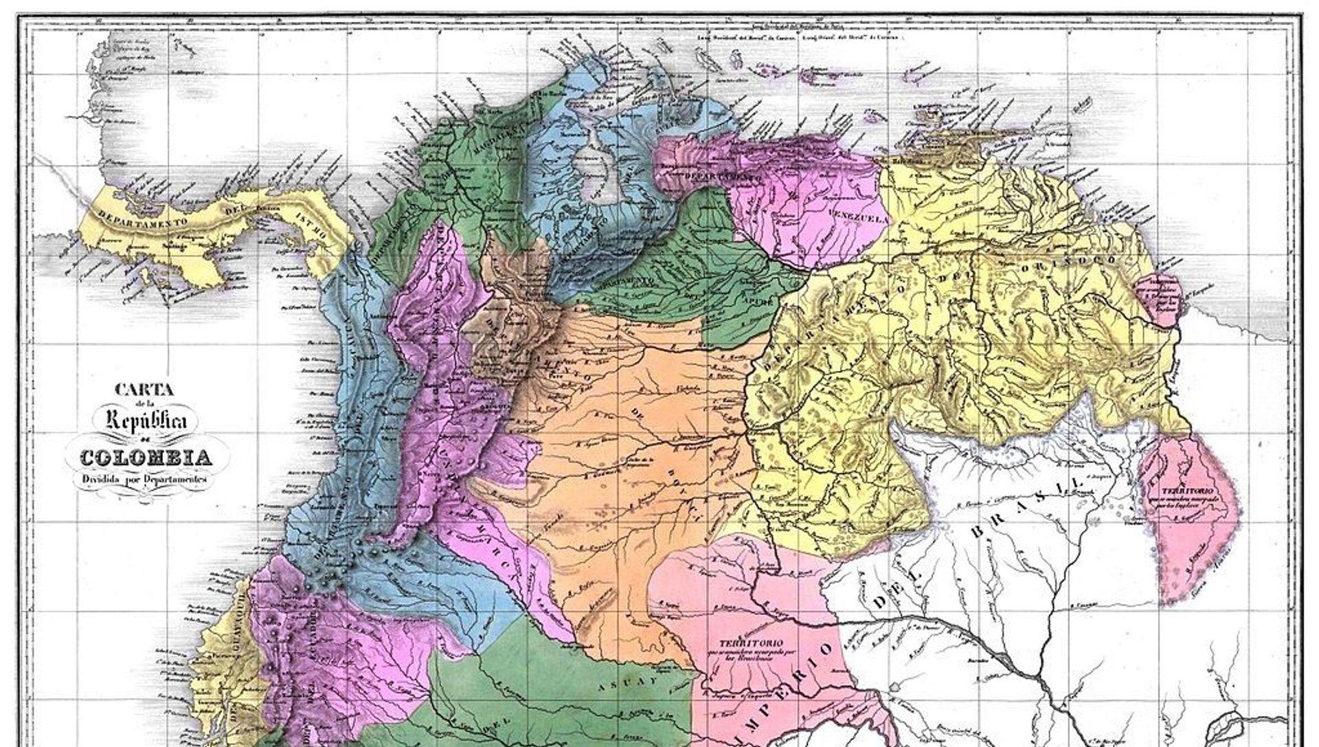 Mapa de la Gran Colombia en 1824 - Sputnik Mundo, 1920, 07.08.2019