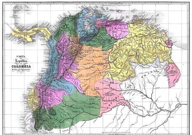 Mapa de la Gran Colombia en 1824