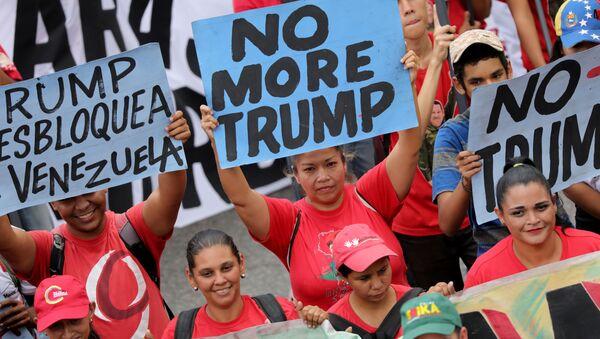 No más Trump: las fotos de la marcha venezolana en Caracas contra el presidente de EEUU - Sputnik Mundo