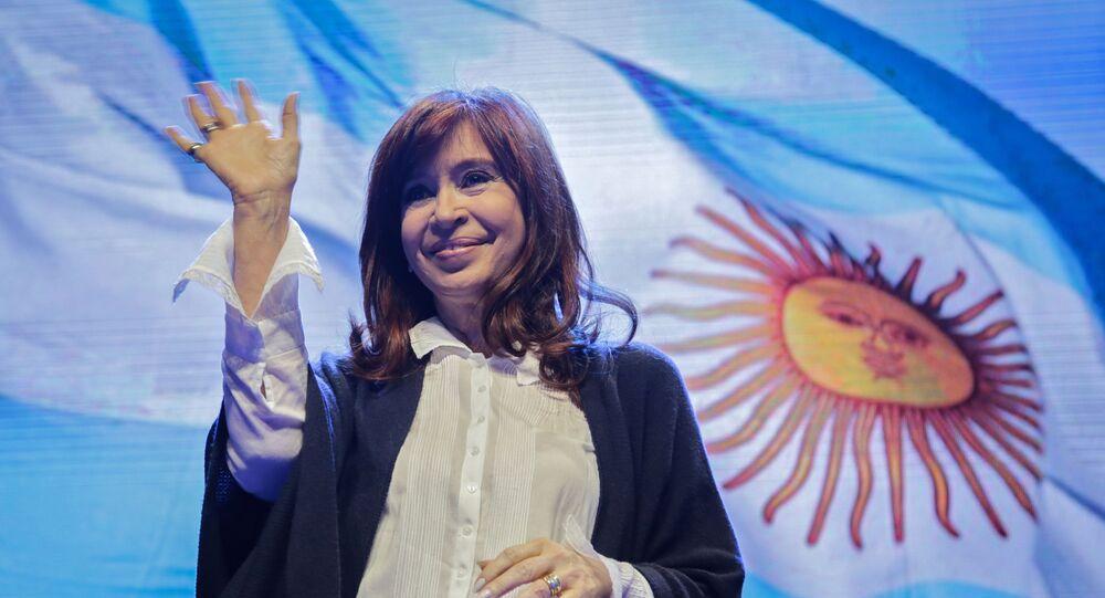 La senadora y expresidenta Cristina Fernández, precandidata a la vicepresidencia de Argentina por la alianza opositora Frente de Todos