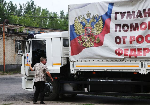 La llegada de un convoy humanitario ruso a Donetsk