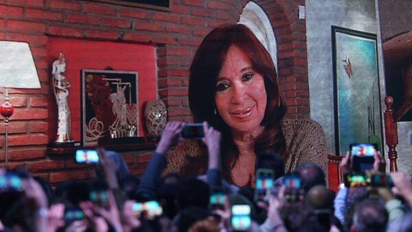 Cristina Fernández de Kirchner en la pantalla durante las primarias en Argentina - Sputnik Mundo