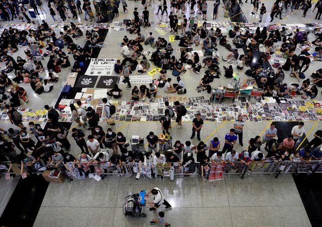 El aeropuerto de Hong Kong en medio de protestas (archivo)