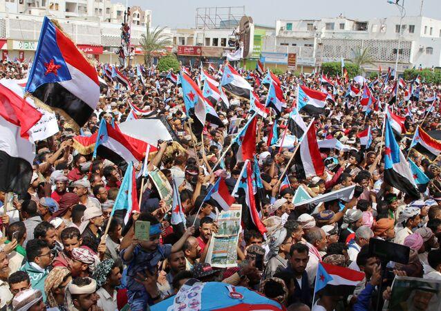Manifestación en apoyo al Consejo de Transición del Sur en Adén