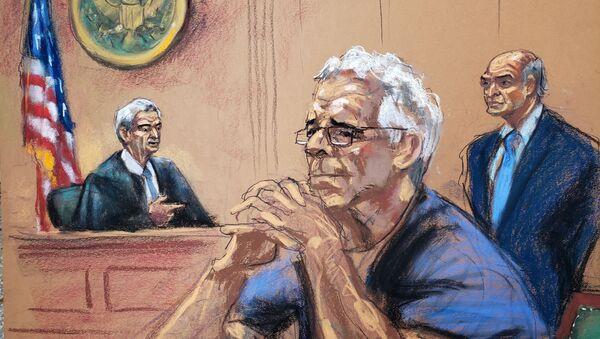 Jeffrey Epstein, en un dibujo de su proceso en la corte - Sputnik Mundo
